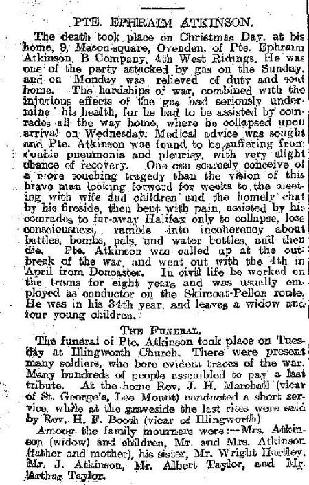 Obituary in Halifax Courier 01 January 1916