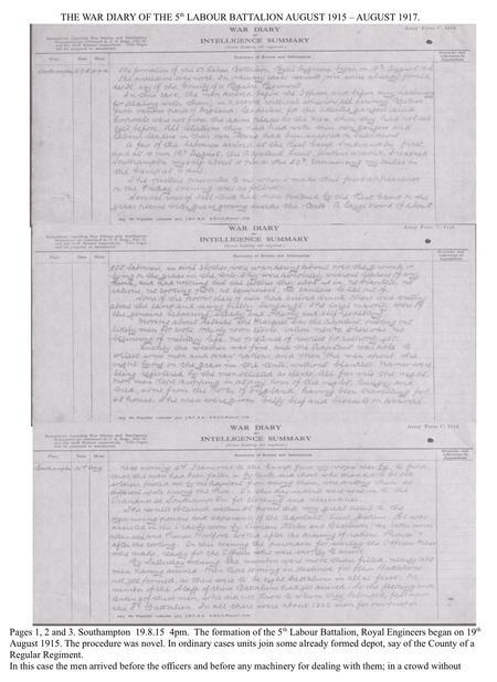 War Diary. Southampton Common Military Res. prt 1.