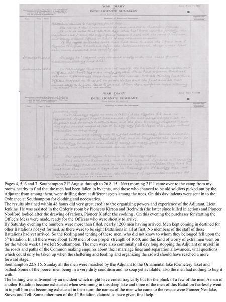 War Diary. Southampton Common Military Res. prt. 4