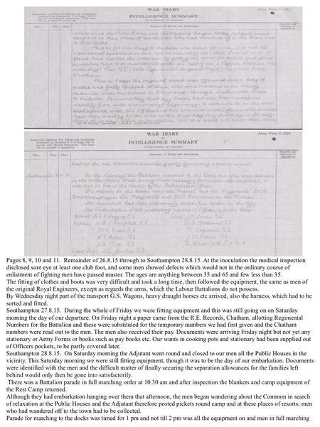 War Diary. Southampton Common Military Res. prt.6.