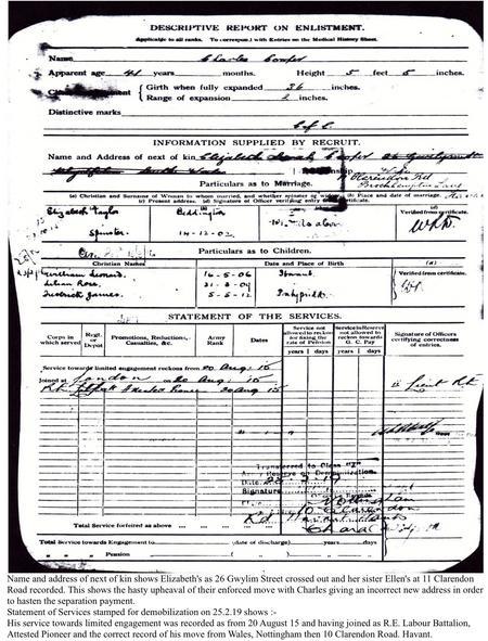 Service Record . Descriptive Report On Enlistment.