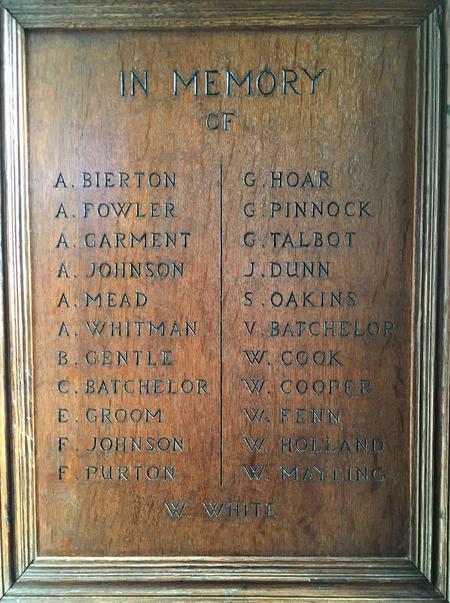 Little Gaddesden Church War Memorial - detail