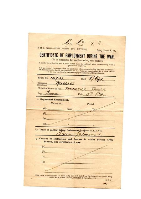 Certificate of employment during the war