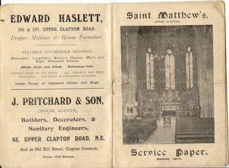 Parish Magazine:St Matthew's,U Clapton, March 1917