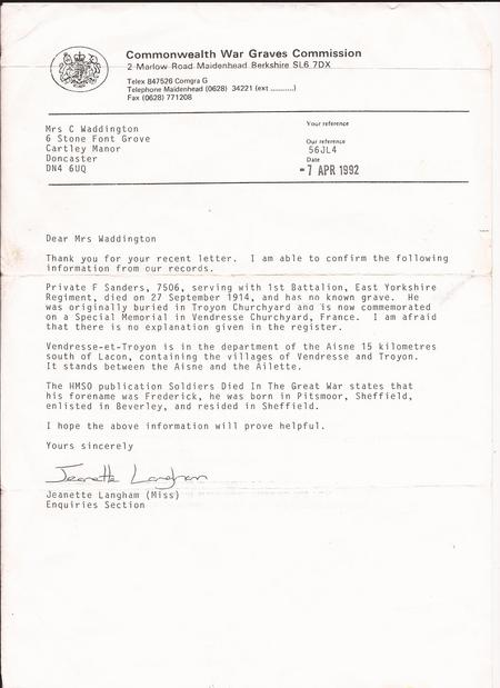 Letter from Commonwealth War graves Commission
