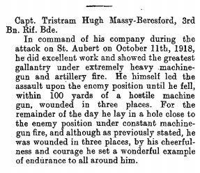Bravery Citation - October 11th 1918
