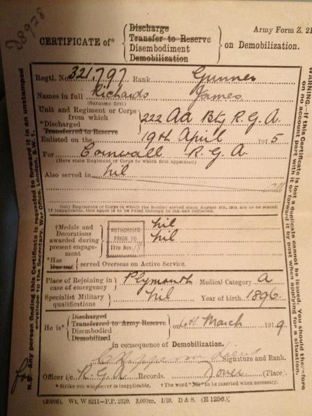 James Richards Discharge papers