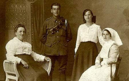 Harry Greenwood with mother and sisters