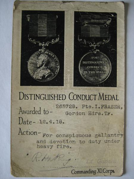 DCM Medal Card