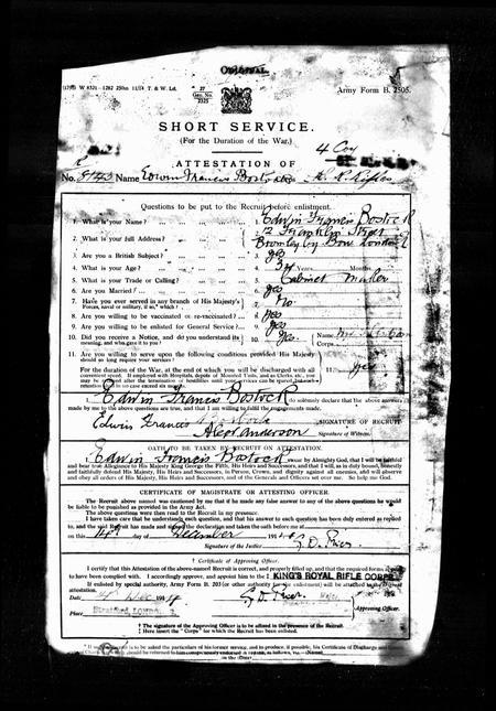 Enlistment document - Edwin Francis Bostock