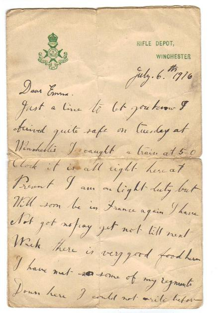 Letter from E F Bostock to his wife, 1916 (1 of 2)