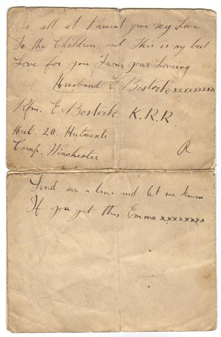 Letter from E F Bostock to his wife, 1916 (2 of 2)