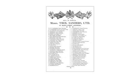 Thos Sanders Roll of Honour