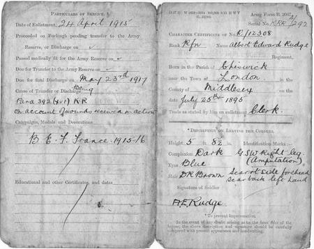 war service record on discharge