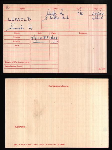 Medal Rolls Index Card.
