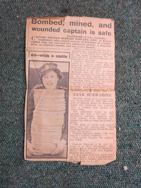 Newspaper cutting Sep or Oct 1940