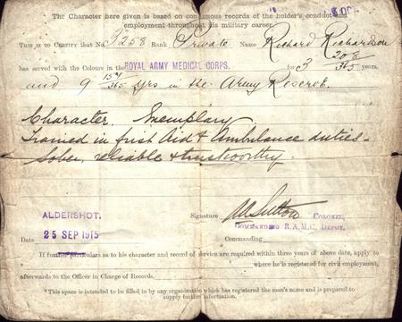 Discharge Papers 1915