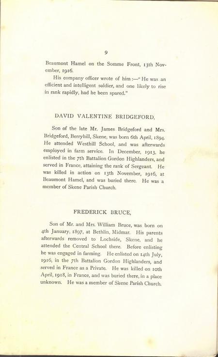 Extract from Kirkton of Skene War Memorial Book