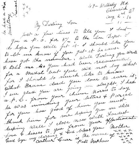 Letter dated Aug 2nd 1916