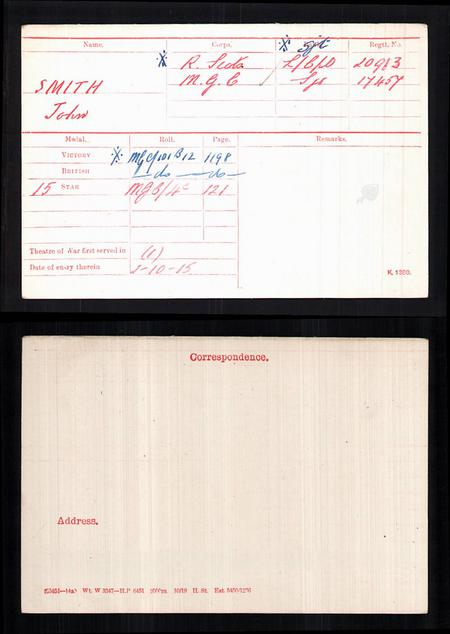 John Fisher Smith's medal index card