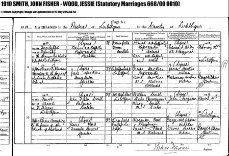 Marriage certificate for John Fisher Smith