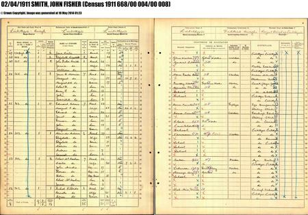 1911 Census entry for John Fisher Smith