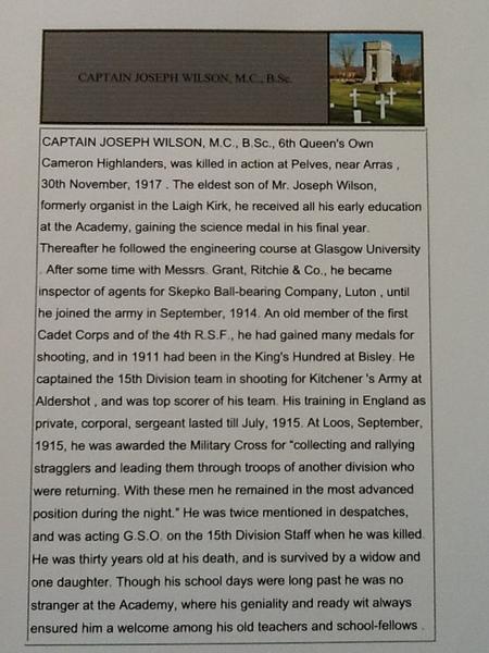 Roll of Honour - Captain Joseph Wilson, MC BSc
