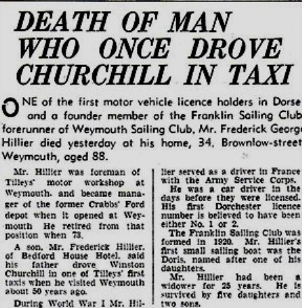 Newspaper account of Fred Hillier's death, 1967