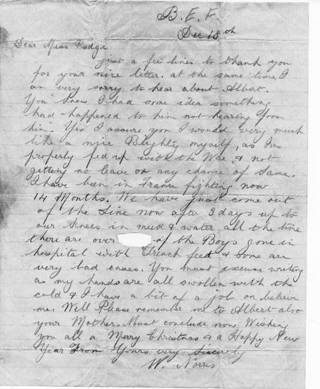 letter from friend dec 1916