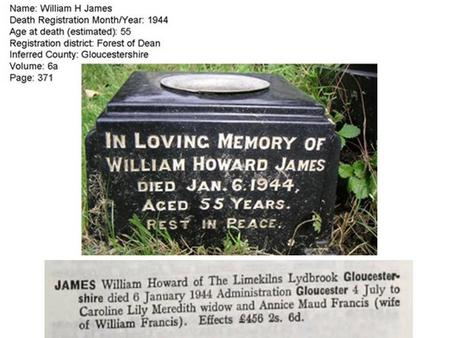 William Howard James Headstone