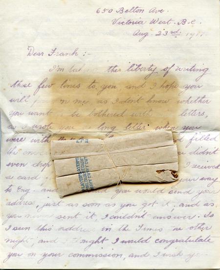 Frieda's unread letter to Frank