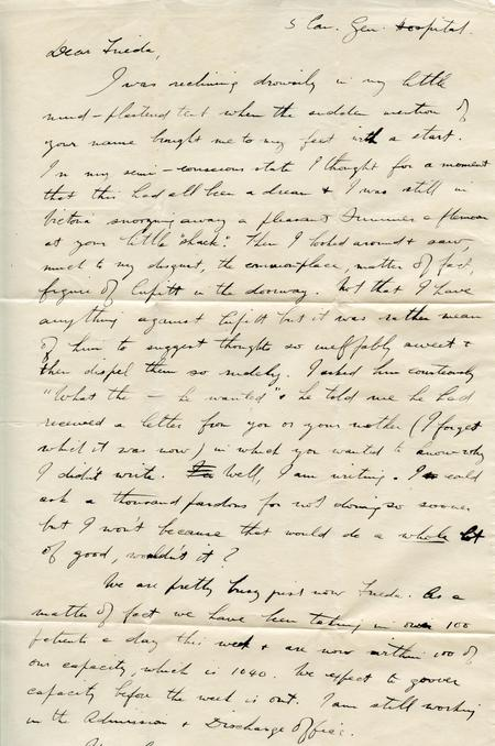 Frank's letter to Frieda (top of page 1)