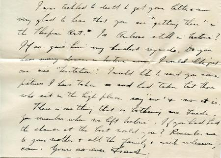 Frank's letter to Frieda (bottom of page 2)