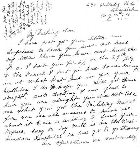 Letter to Albert from mother 14 Aug 1916 (p1)