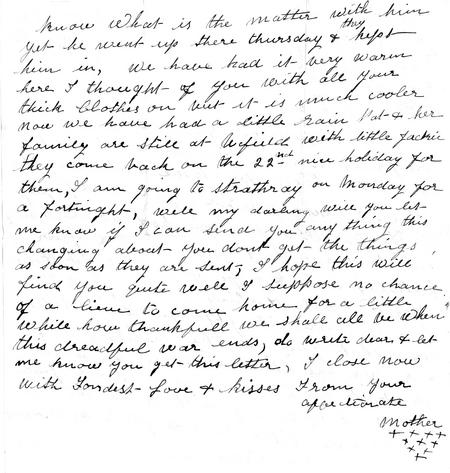 Letter to Albert from mother 14 Aug 1916 (p2)