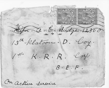 envelope containing letter from mother 14 Aug '16