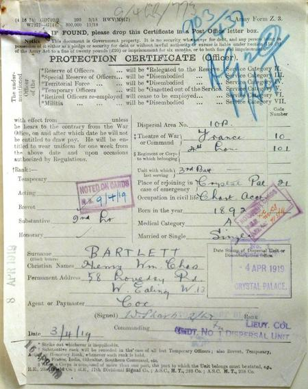 Protection Certificate 1919