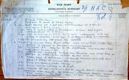 2/1 H A C War Diary Entry for Bullecourt offensive