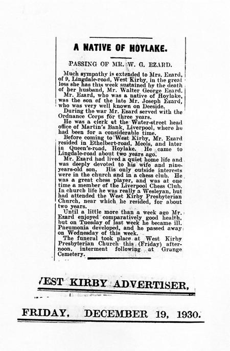 Obituary in West Kirby Advertiser, 19 Dec 1930