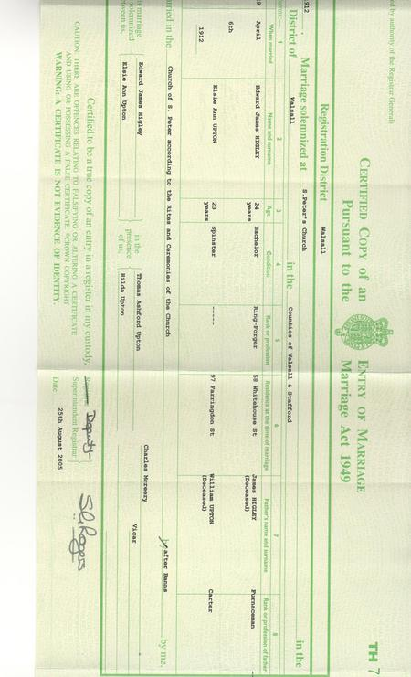 Marriage certificate for Edward.