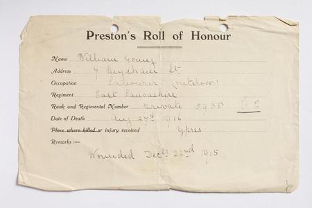Preston Roll of Honour form for William Young