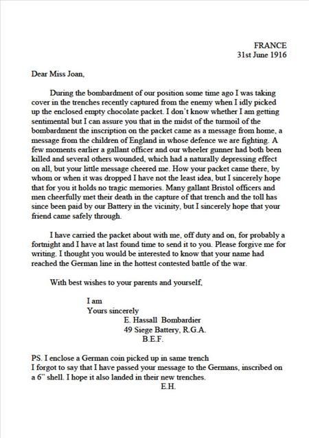 Edwin's 1st letter to Joan - 31 June 1916