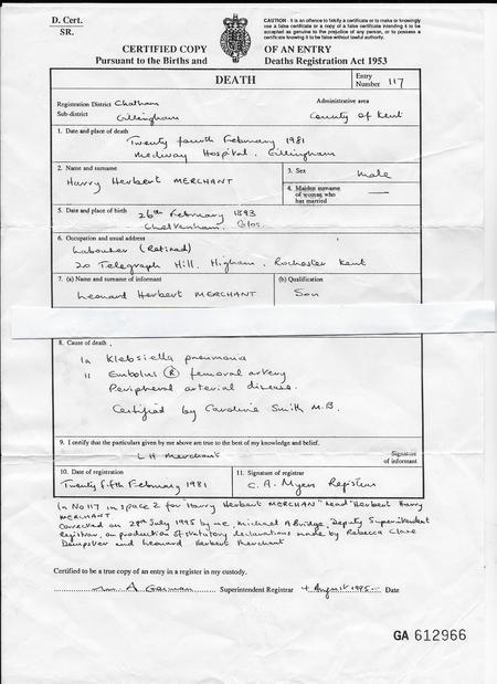 Herbert Harry Merchant (George Smith) Death Cert