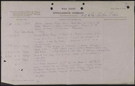 War diary entry about his death