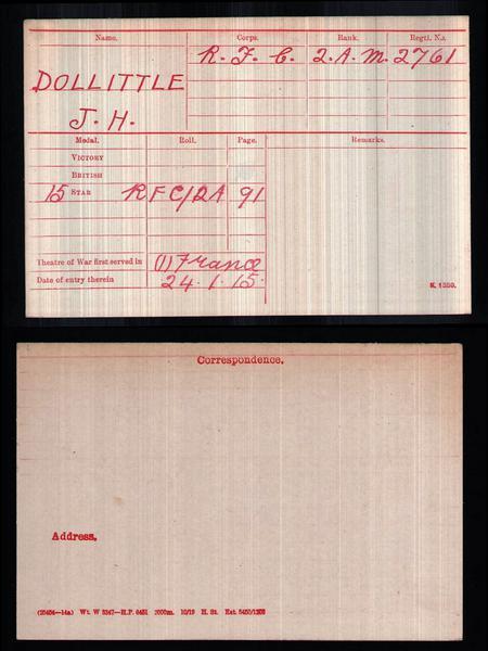 British Army WW1 Medal Index Card