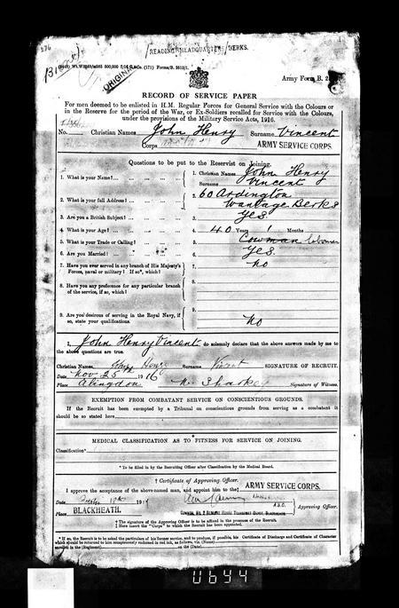 WW1 Service Record Page 1