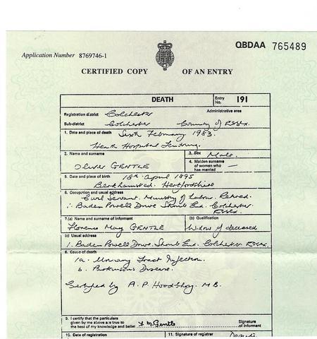 Oliver Gentle Death Certificate