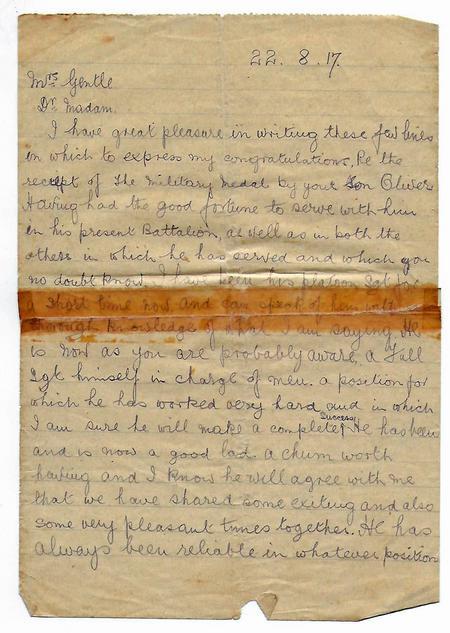 Platoon Sgt Letter re Oliver Gentle p1
