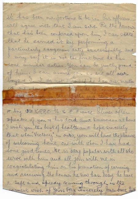 Platoon Sgt Letter re Oliver Gentle p2