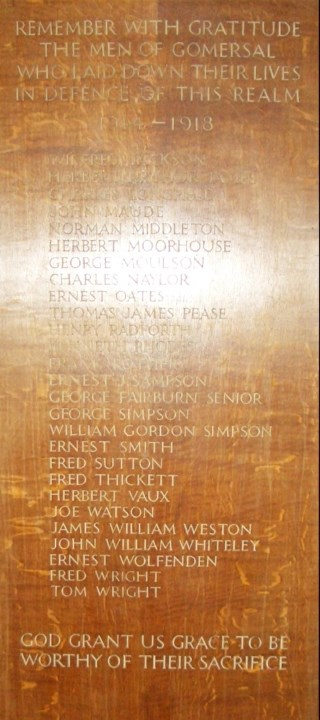 Gomersal St. Mary's Church War Memorial panel